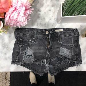 Destroyed Acid Wash Black Jean Shorts